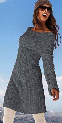 Hand Knit Women Tunic dress sweater coat jacket women made to order hand knitted women's dress sweater cardigan pullover clothing handmade