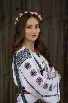 Discover this look wearing Handmade Blouses, Handmade Belts - The Romanian Blouse by SimonaMoon styled for Vintage, Everyday in the Spring Romanian People, Romanian Women, Romanian Flag, Folk Fashion, Ethnic Fashion, Womens Fashion, Fashion Trends, Costumes Around The World, European Girls