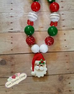 Santa Claus Chunky bubblegum necklace  Check out this item in my Etsy shop https://www.etsy.com/listing/243217760/santa-claus-girls-children-chunky