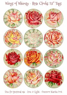 Since I ended up with 12 different Rose Clocks, I could not resist gathering them all as 2,5″ tags on a sheet:    Another idea is using the pretty vintage rose page from the 1914 Miss El…