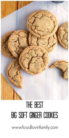 The Best Big Soft Ginger Cookies - Food Lovin Family Cookie Brownie Bars, Cookie Desserts, Cookie Recipes, Cookie Swap, Chewy Ginger Cookies, Yummy Cookies, Christmas Baking, Christmas Cookies, Christmas Sweets