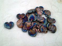 Raku Heart Beads Handmade Porcelain Clay by spinningstarstudio