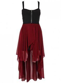 Chiffon Contrast Zip Front Hi-Lo Dress,  Dress, high low dress  sleeveless dress, Chic