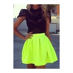 Neon Green Zipper Closure Skater Skirt (€18) ❤ liked on Polyvore featuring skirts, green, flared mini skirt, skater skirt, circle skirt, green a line skirt y vintage skirts