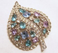 Vintage Jomaz Rhinestone Leaf Pin Crystal Blue by GretelsTreasures #GotVintage  #Vintage  #Jewelry
