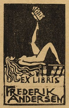 Exlibris by Wanda Roose from Sweden for Frederik Andersen - Book Woman - Linocut Linoprint, Art For Art Sake, Art Sketchbook, Linocut, Ex Libris, Vintage Illustration Art, Art, Figurative Artwork, Book Art