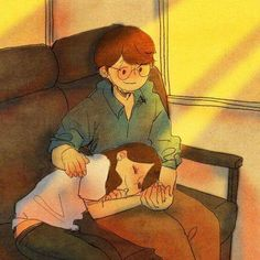 ♥ TRAIN ~ I'm happy to watch over her while she sleeps… ♥ by Puuung at… Love Cartoon Couple, Cute Couple Art, Couple Illustration, Illustration Art, Anime Love, Puuung Love Is, Art Anime, Couple Drawings, Korean Artist