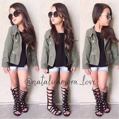Cute outfit, but the shorts should be longer. And why is she posing like Kim Kardashian? I'm trying not to judge this girl's mother, but some of her fashion photos are a little disturbing...