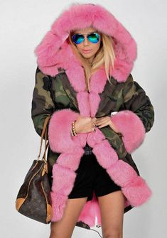 8f51c20bc09 Roiii Women Ladies Winter Warm Coat Hooded Pink Faux Fur Parka Camouflage  Jacket