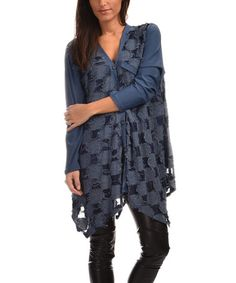 Look what I found on #zulily! Blue Check Button-Up Tunic - Plus Too #zulilyfinds