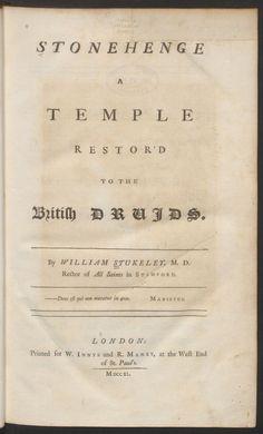 Stonehenge, a temple restor'd to the British Druids by William Stukeley Harvard University Library  Harvard University Library has made available a digitised copy ofWilliam Stukeley&#8217…