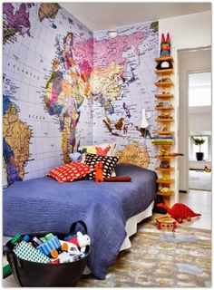 world map tapestry for kid's room