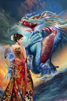 Oriental Beauty and Dragon by Tigermyuou