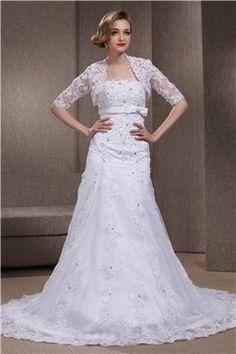 2013 Elegante Brautkleider mit Spitze und Satin mit Jacke aus Spitze