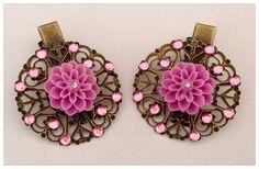 lot de 2 Pinces (filigrane) à cheveux metal bronze style rétro vintage fleur rose incrusté de strass : Accessoires coiffure par perles-et-couronnes