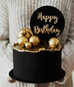Golden Birthday Cakes, Small Birthday Cakes, Elegant Birthday Cakes, Beautiful Birthday Cakes, Elegant Cakes, Happy Birthday Cakes, Birthday Cake For Boyfriend, Birthday Cake For Him, Birthday Cakes For Women