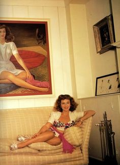 """sharontates: """""""" Paulette Goddard seated below her portrait, painted by Mexican artist, Diego Rivera, """" """" Old Hollywood Stars, Hollywood Actor, Vintage Hollywood, Hollywood Glamour, Classic Hollywood, Hollywood Homes, Hollywood Party, Hollywood Actresses, Classic Actresses"""