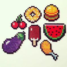 #hama #hamabeads #perlerbeads #frutas #fruit #donut #hamburguer #icecream #sandia #perler