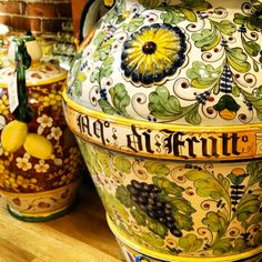 A stunning example of Tuscan design and workmanship. Handmade and hand painted in Tuscany, Italy, but found at Italian Pottery Outlet in Santa Barbara, CA - visit us online at www.italianpottery.com -...