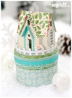 """$6.99 for the kit, but I'm pinning this as a """"springboard"""" idea. I can use my """"Winter Woodland"""" Cricut cartridge to make the little house & dress up a plain little gift box! Their little house is 6"""" tall . . ."""
