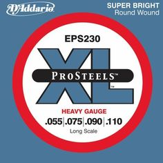 D'Addario EPS230 ProSteels Bass Guitar Strings, Heavy, 55-110, Long Scale by D'Addario. $16.54. From the Manufacturer                EPS230, D'Addario's heaviest gauged ProSteels bass guitar strings offer maximum volume and a tight, booming tone. They can also be used for down tuning. ProSteels are D'Addario's brightest and most magnetic bass strings. A specialized steel alloy delivers harmonically rich, brilliant high-end coupled with deep, tight lows that work in tan...