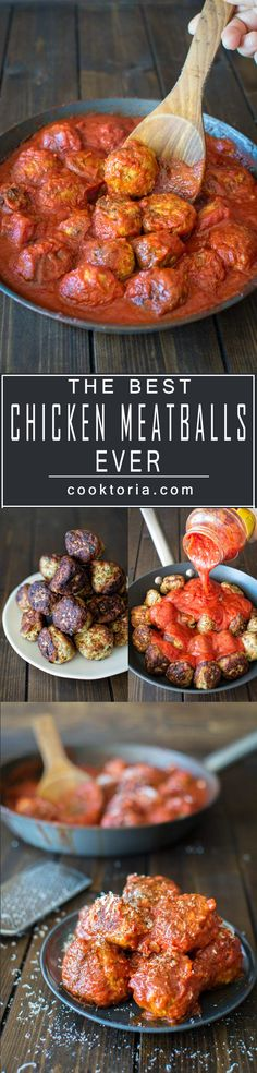Super moist and flavorful chicken meatballs, covered in rich marinara sauce. Thi… Super moist and flavorful chicken meatballs, covered in rich marinara sauce. This is the only meatballs recipe you'll ever need. Meatball Recipes, Turkey Recipes, Meat Recipes, Chicken Recipes, Dinner Recipes, Cooking Recipes, Healthy Recipes, Ark Recipes, Hamburger Recipes