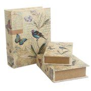 Sagebrook Home Butterfly 3 Piece Book Box Set