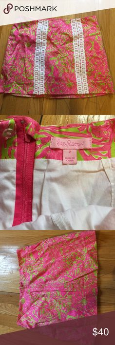Lilly Pulitzer Skirt Lilly Pulitzer Skirt these have shorts inside that have light discoloration. Personally this lining is easily cut-able and can be fixed by just removing the leg gap in the shorts so it becomes a skirt (in the lining) . Lilly Pulitzer Skirts