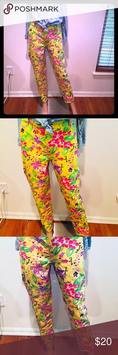 ASOS Boyfriend Jeans in Hawaiian Print -US 12 These are boyfriend fit and my waist is much smaller than my hips so I had them taken in. You can let the stitching out to fit a true 12 or keep it for more of a 10 fit ASOS Pants