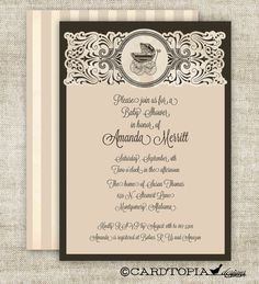 Vintage BABY SHOWER Gender Neutral Invitations by Cardtopia Designs