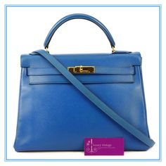 #HERMES #Kelly32 #Blue France Epsom/Courchevel With Gold Hardware Fair Condition Ref.code-(KYCL-2)