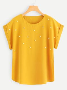 Casual Plain Top Regular Fit Round Neck Short Sleeve Roll Up Sleeve Pullovers Ginger Regular Length Pearl Beaded Cuffed Blouse - Pullover Blouse Patterns, Blouse Designs, Skirt Outfits, Cute Outfits, Pullover Pink, Shirt Bluse, Plain Tops, Roll Up Sleeves, Blouse Online