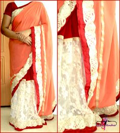 LIGHT ORANGE SAREE WITH TRENDY NET :   This saree is usually for women who want to show there style statement. Created with light orange and net patched with golden zardozi work makes it a master face. A beautiful combination of red, light orange and white makes it out of the box collection for women who likes most appealing and stylish sarees.