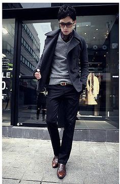 Korean Fashion Men's Casual Solid Long Trousers Joker Slim Fit Straight Pants