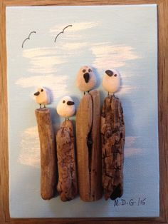 "Pebble Art by Denise "" Seagulls"""