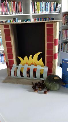 Haard voor in de bieb, te gebruiken voor herfst thema, sinterklaas en kerst.
