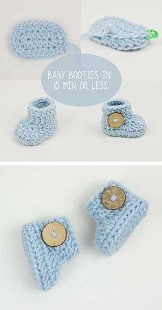 Crochet Baby Booties in 15 Minutes or Less! – About Crochet! Crochet Baby Cardigan Free Pattern, Crochet Baby Booties Tutorial, Crochet Baby Socks, Baby Booties Knitting Pattern, Crochet Baby Sandals, Knit Baby Booties, Crochet Bebe, Booties Crochet, Crochet Baby Clothes