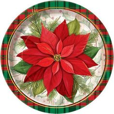 Poinsettia Plaid Holiday Dinner Plates feature a bright red poinsettia surrounded by red and green plaid trim. Poinsettia Plaid Christmas Paper Plates measure round and come in a package of Christmas Dinner Plates, Christmas Paper Plates, Christmas Table Settings, Christmas Party Decorations, Plaid Christmas, Christmas Angels, Christmas Art, Christmas Ornaments, Holiday Dinner