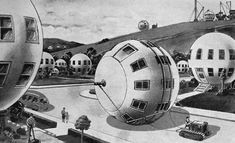 Above are two similar but distinct visions of the future as predicted from the earlier half of the 20th century. The illustrations are from 1946 and 1934, both foretelling a future where we inhabit giant and mobile spheres. The black and white illustration promises a future where our houses follow us wherever we move