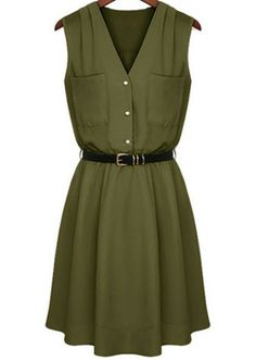 Green V Neck Sleeveless Pockets Chiffon Dress pictures