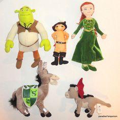 Shrek Plush Doll Set: Shrek, Fiona, Donkey, Baby Dragon, and Puss N Boots #toys #stuffedanimals