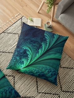 Abstract blue green feathers fractal illustration. Graphic abstract background • Also buy this artwork on home decor, apparel, phone cases, and more. on @Redbubble #OksanaAriskina #Artworks #FineArtPhotography #HomeDecor #FineArtPrints #FineArtAbstract #Fractal #Abstract #ArtForSale #Green  #Wave #feather #Pillow