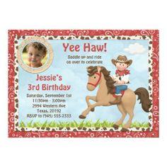 Cowboy Horse Birthday Party Invitation