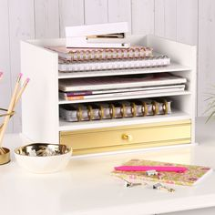 Industrious Desktop Wood Letter Tray with 3 Trays and Drawer