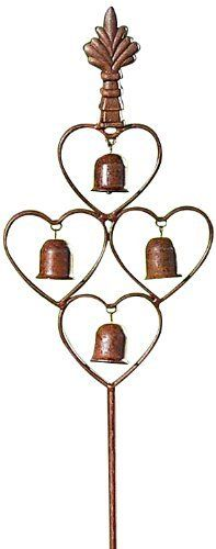 "Gift Craft 39.4-Inch Iron Double Prong Stake with 4-Bell, Large, Burgundy by Gift Craft. $19.73. Outdoor safe. Durable iron construction. Well suited for planters and plant beds alike. Add charm to your garden with our rustic iron garden stake. the design features four bells suspended in cut-out heart shapes and topped with an ornate finial. measures approximately 6.3"" x 39.4"".. Save 82%!"