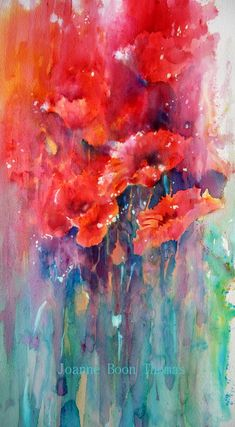 Tall Poppies Brusho Joanne Boon Thomas by barbra Watercolor Poppies, Watercolor Paintings, Watercolor Sunflower, Watercolours, Art Aquarelle, Brusho, Encaustic Art, Abstract Flowers, Monet