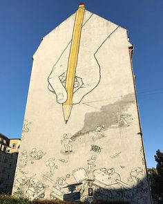"""""""The famous graffiti artist Blu from Italia made the painting in 2008 in Aarhus - I never knew it was him before I saw other paintings in Berlin. Look at the way he merged the rubber on the yellow pen and the chimney #aarhus #mitaarhus #denmark #visitdenmark #visitaarhus"""" by @danishadventurer. #europe #roadtrip #여행 #outdoors #ocean #world #hiking #lonelyplanet #instalive #ilove #instalife #sightseeing #unlimitedparadise #tour #instamoment #instacool #instagramers #instapicture #travelingram…"""