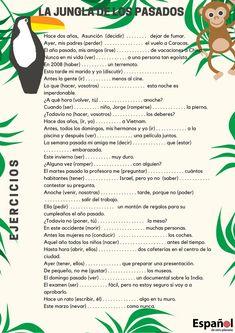 Materiales: La Jungla de los Pasados — Español de otro planeta Learn Spanish Free, Spanish Lessons For Kids, Study Spanish, Spanish Lesson Plans, How To Speak Spanish, Spanish Classroom Activities, Preschool Spanish, Spanish Teaching Resources, Spanish Worksheets