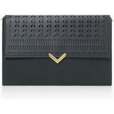 Stella & Dot City Slim Clutch - Black Perf (78 CAD) ❤ liked on Polyvore featuring bags, handbags and clutches