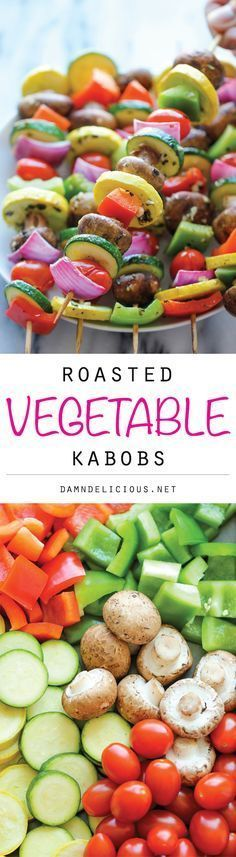Vegetable Kabobs - These marinated fresh veggie kabobs are packed with tons of flavor – perfect as a healthy side dish to any meal!